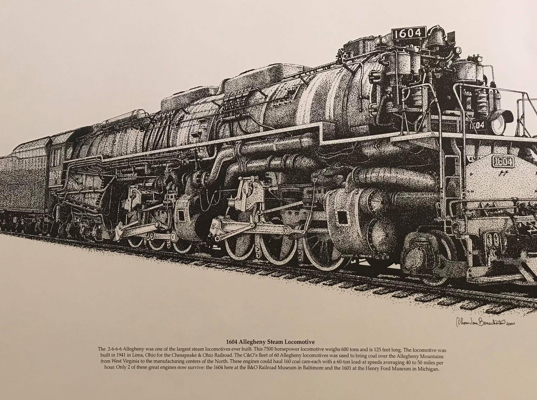 Thom Van Benschoten drew this replica of a 1604 Allegheny Steam Locomotive, which was built in Lima, Ohio, in 1941.