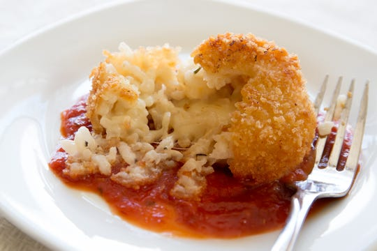 Arancini made with leftover risotto.
