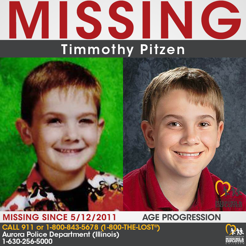 Missing person poster created by the National Center for Missing & Exploited Children showing Timmothy Pitzen at age 6 when he went missing and an age progression picture of him at age 13.