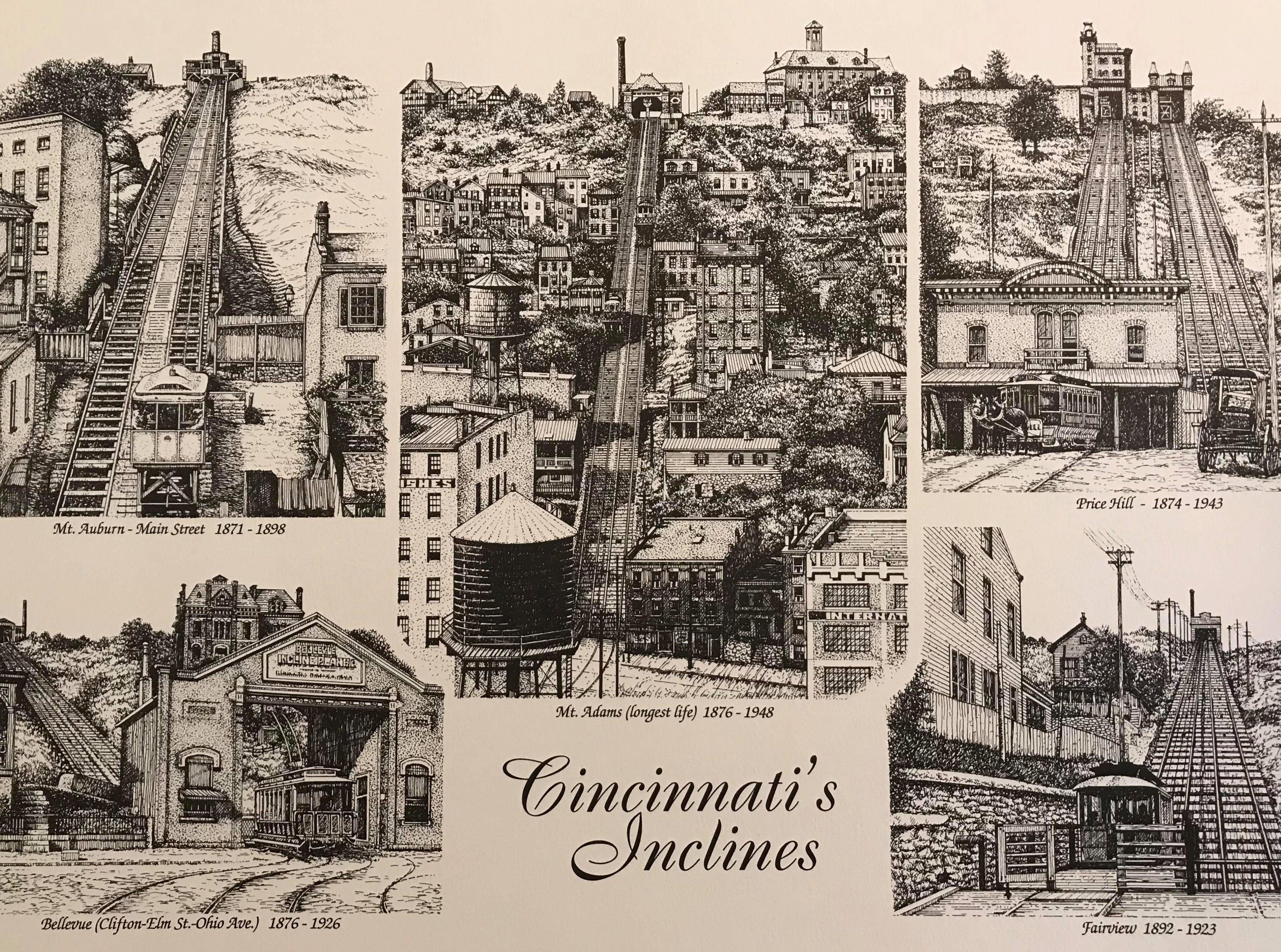 This is Thom Van Benschoten's print of Cincinnati's inclines.