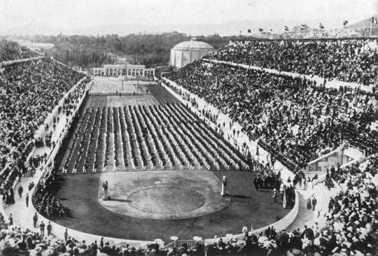 Panathenaic Stadium, home of the athletics events of the Athens 1896 Olympic Games.
