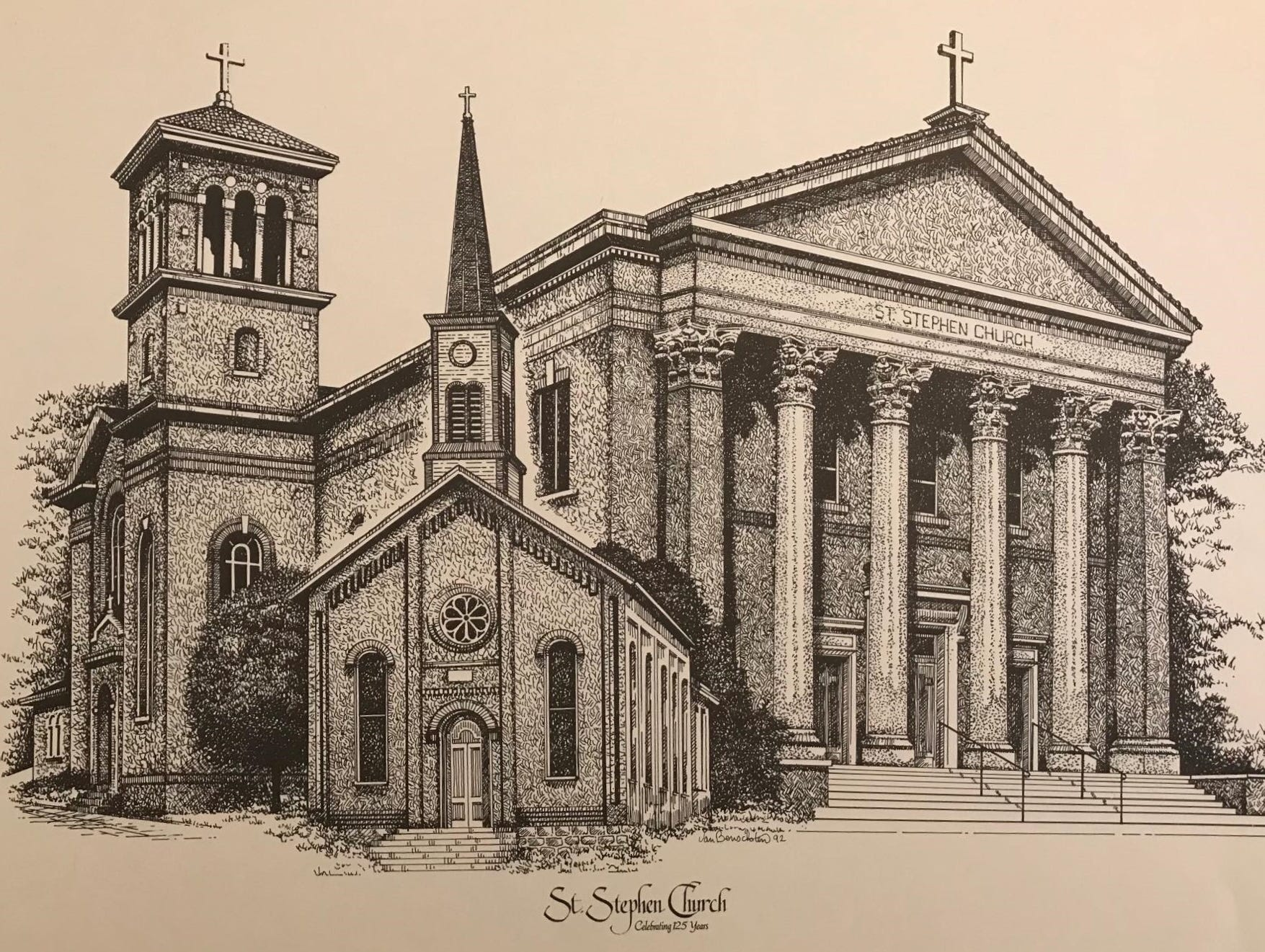 Thom Van Benschoten drew this print of St. Stephen Church, located between the East End and Pendleton in Cincinnati.