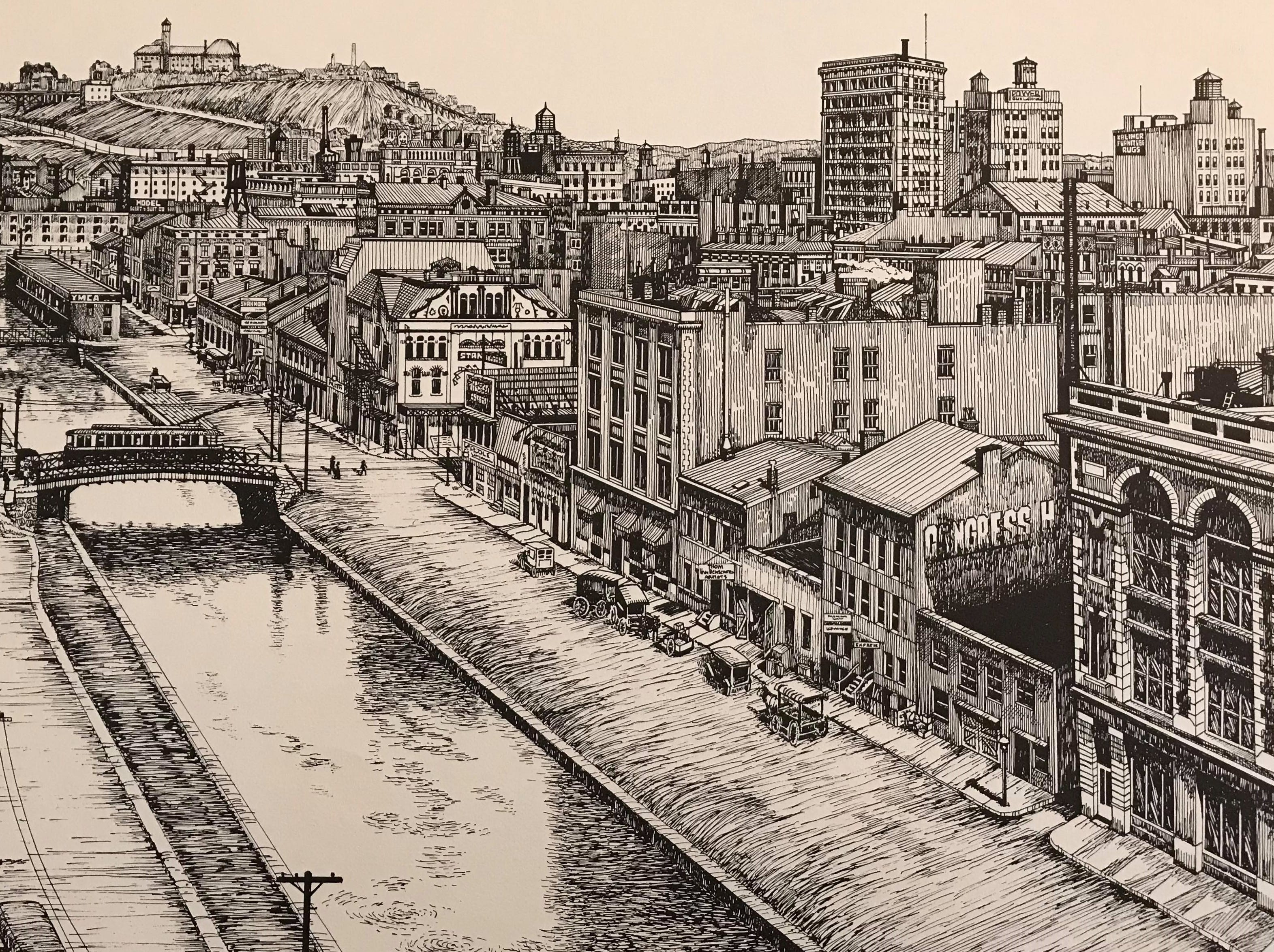This is Thom Van Benschoten's print of the Miami and Erie canals.