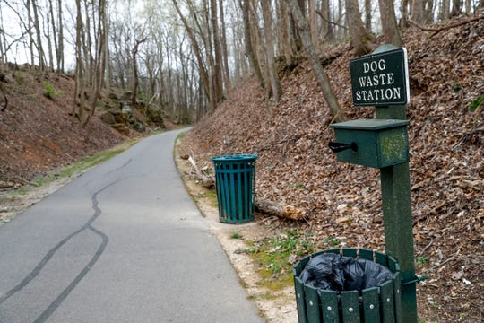 A station to drop doggy bags and waste is located at one of the entrances to the Clarksville Greenway off Pollard Road in Clarksville, Tenn., on Thursday, April 4, 2019.