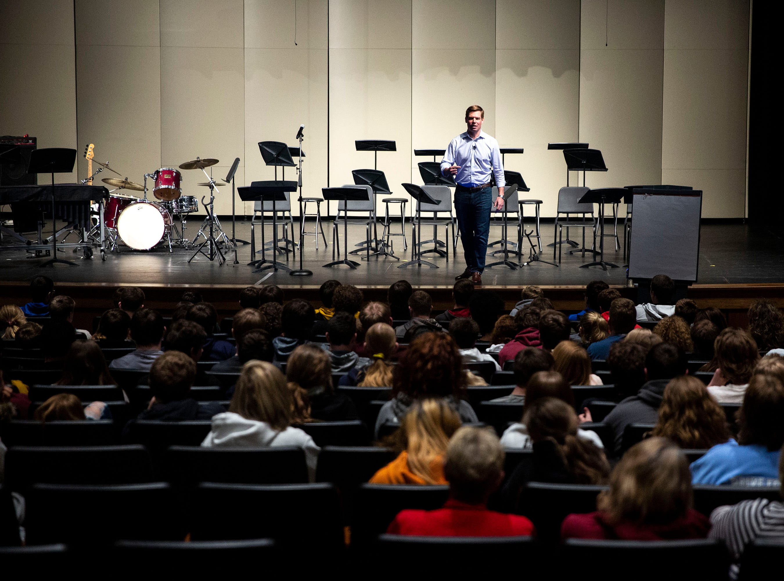 U.S. Rep. Eric Swalwell, D-CA, talks to studnets at Algona High School on Monday, April 1, 2019, in the school's auditorium in Algona. Swalwell was born in Iowa and has made several trips to the state while eyeing a run for president.