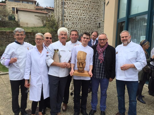 Michael LaValle and the Des Moines delegation at the18th Cuisiniers de la Loire Trophy Contest on April 2nd, posing with Gaspard Roumy, first-place winner of the cooking competition. Roumy will come to Des Moines in November to re-create his winning dishes for diners in Des Moines.