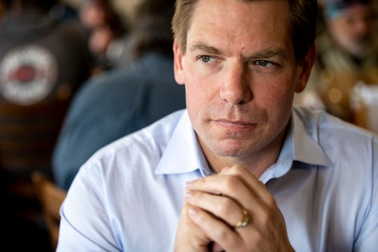 U.S. Rep. Eric Swalwell, D-CA, sits down for an interview at Chrome Restaurant and Catering on Monday, April 1, 2019, in Algona. Swalwell was born in Iowa and has made several trips to the state while eyeing a run for president.