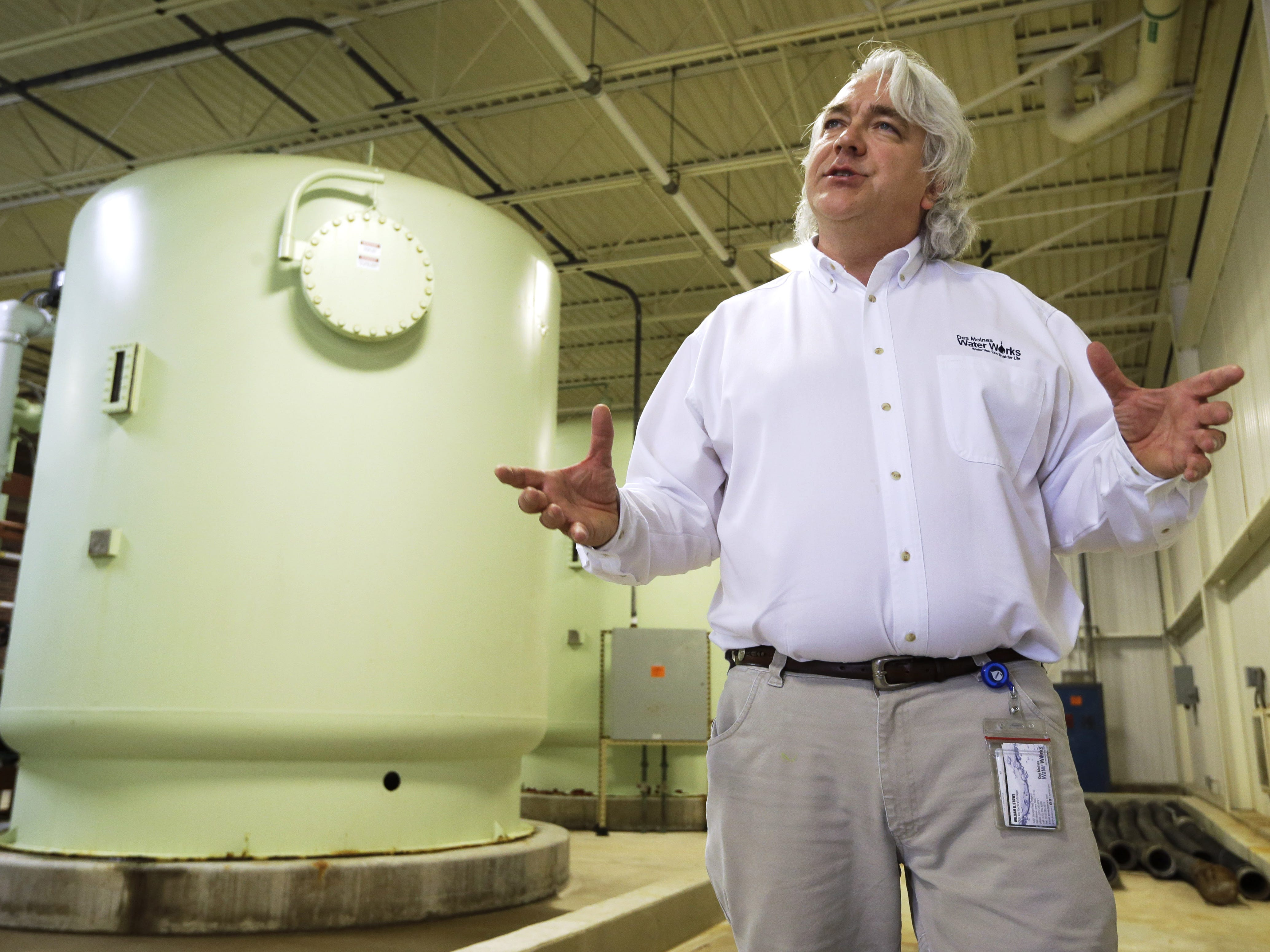 Bill Stowe stands in the Nitrate Removal Facility at the Water Works treatment plant in Des Moines. Nitrate levels in the Des Moines and Raccoon rivers in 2013 were exceeding federal limits again. Stowe said it's unheard of to have spikes so high in November. Nitrate levels on the two rivers used as sources for Des Moines' drinking water often peak in the spring when rain washes unused fertilizer from farm fields.