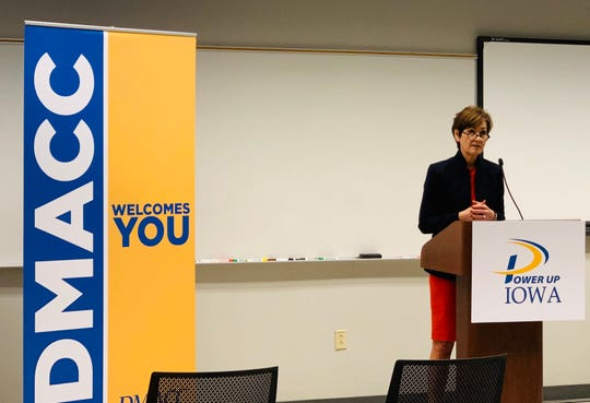 Iowa Gov. Kim Reynolds speaks at a press conference Thursday announcing Power Up Iowa, a coalition of leaders advocating for policies to grow wind energy in Iowa.