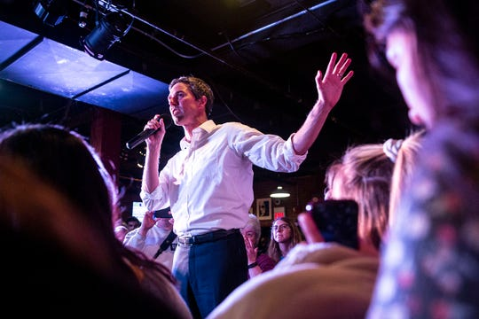 Beto O'Rourke, Democratic candidate for president, speaks to a crowd of people gathered in the Maintenance Shop on the Iowa State University campus, on Wednesday, April 3, 2019, in Ames, Iowa. This is O'Rourke's second trip tp Iowa after announcing his campaign.