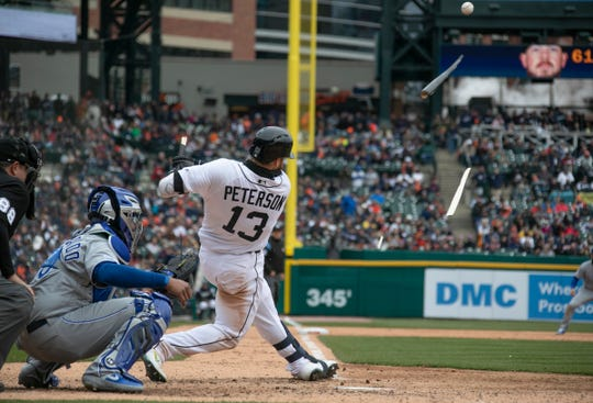 Tigers left fielder Dustin Peterson blows his bat up in the seventh inning of the Tigers' 5-4 win over the Royals on Thursday, April 4, 2019.