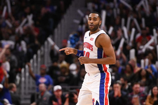 Detroit Pistons guard Wayne Ellington celebrates a play during the fourth quarter against the Indiana Pacers at Little Caesars Arena, April 3, 2019.