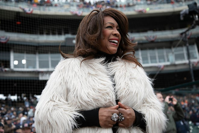 Member of the Supremes Mary Wilson waits to sing the National Anthem before the Detroit Tigers take on the Kansas City Royals for Opening Day at Comerica Park Thursday, April 4, 2019.