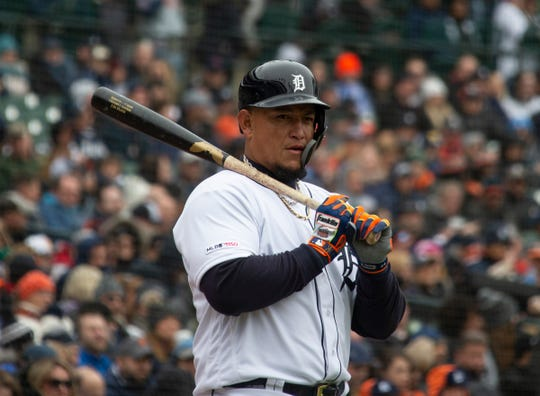Miguel Cabrera during a game against the Royals at Comerica Park on April 4, 2019.