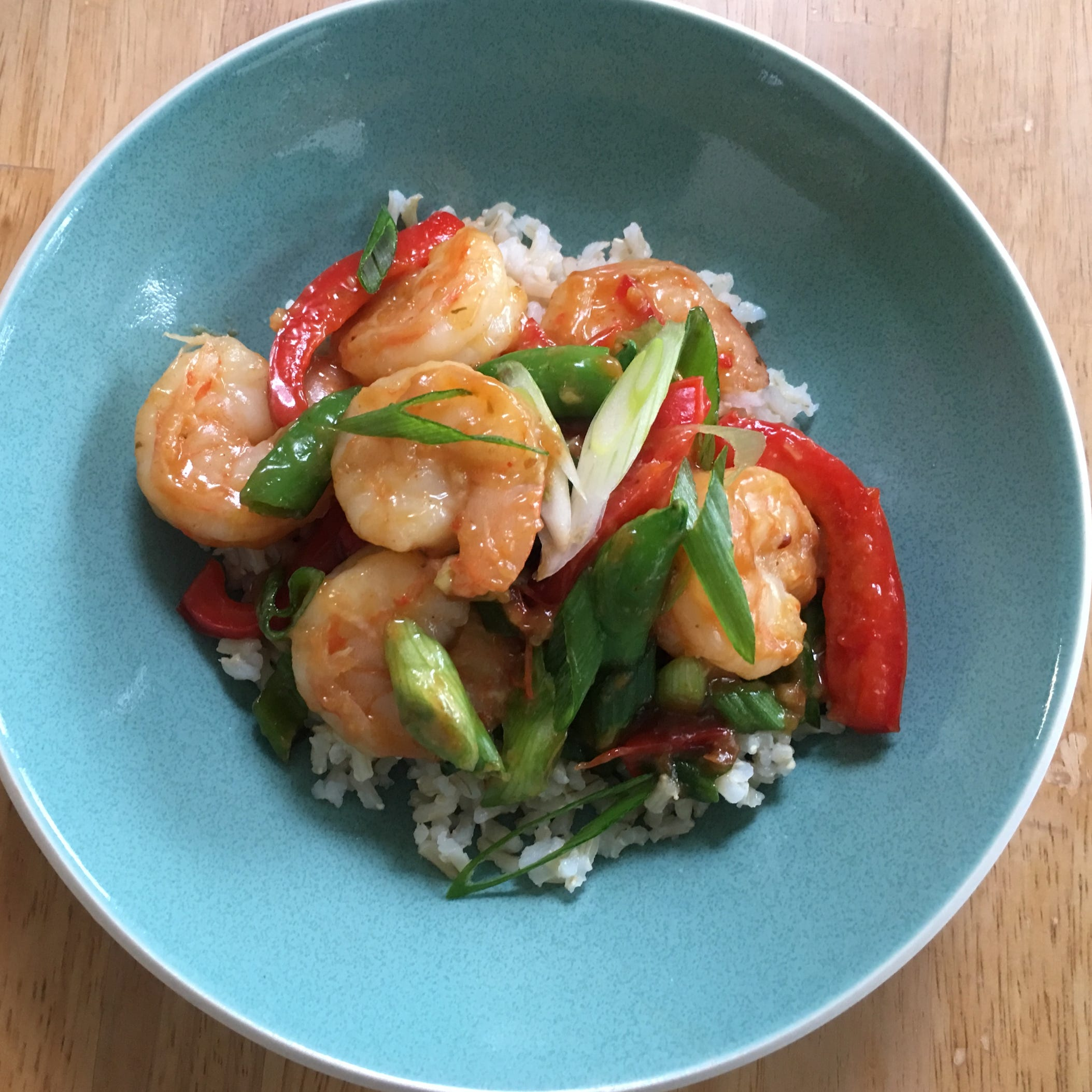 Quick-cooking shrimp, bottled sauce make this stir-fry fast and easy