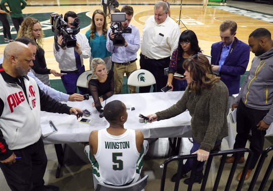 Michigan State guard Cassius Winston talks to reporters Thursday, October 25, 2018 at Breslin Center in East Lansing, Mich.