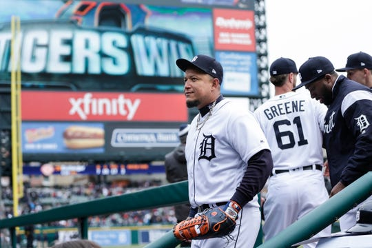 Tigers first baseman Miguel Cabrera walks back to the dugout after the Tigers' 5-4 win over the Royals on Thursday, April 4, 2019.