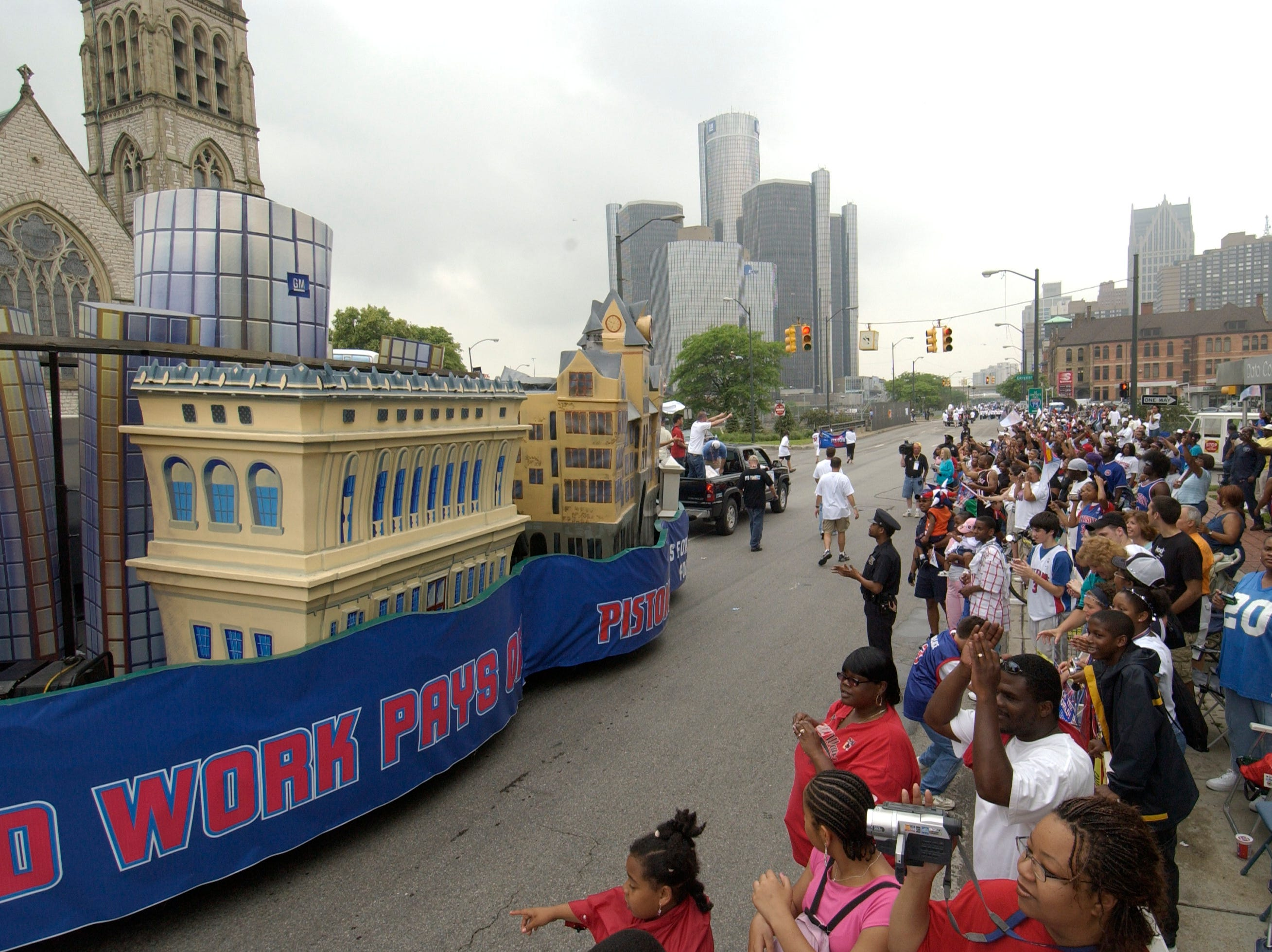 The Detroit Pistons celebrated their NBA championship with a parade down Jefferson Ave.