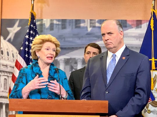 Sen. Debbie Stabenow, D-Lansing, and Rep. Dan Kildee, D-Flint Township, discuss a bill to ensure veterans and their families exposed to PFAS chemicals at military installations get health care and benefits through the U.S. Department of Veterans' Affairs.