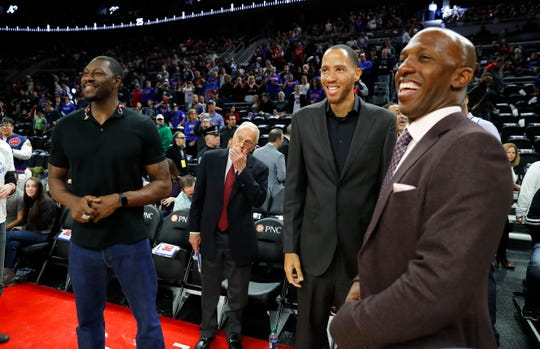 Former Detroit Pistons players Ben Wallace, from left, former head coach Larry Brown, Tayshaun Prince and Chauncey Billups attend an NBA basketball game against the Boston Celtics in 2017 at The Palace of Auburn Hills. Teammate Richard Hamilton had his number retired at halftime.