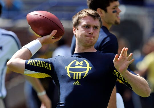 Michigan quarterback Jack Kennedy completed 14-of-25 passes for 208 yards with two touchdowns to beat Air Force 31-25 at Michigan Stadium in Ann Arbor in 2012.