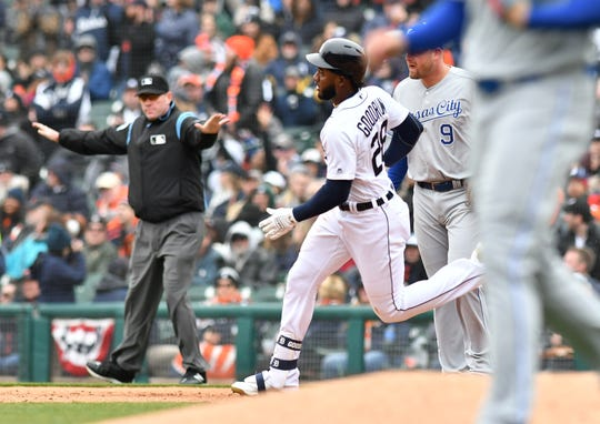 Tigers' Niko Goodrum doubles in the third inning.