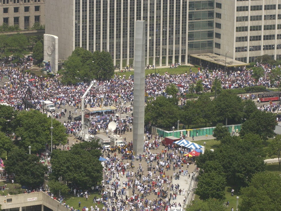 Overall of Hart Plaza during the Pistons 2004 Championship parade.