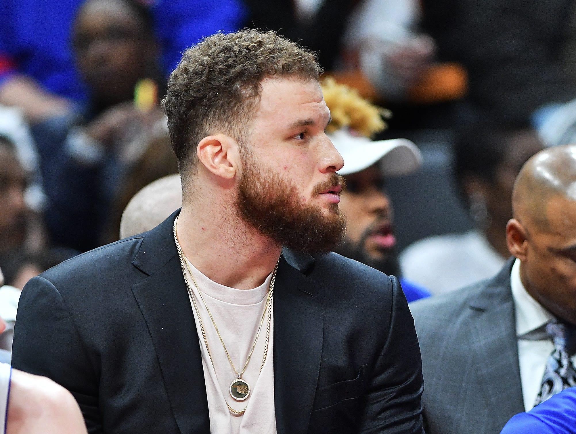 Pistons' Blake Griffin watched the game from the bench in the fourth quarter, Griffin missed his second game in a row.