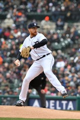 Tigers starting pitcher Spencer Turnbull delivers against the Royals on Thursday.