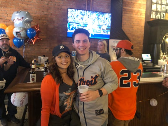 Ashley Morgan of Oak Park and Bobby Webb of Allen Park attend Anchor Bar's  grand reopening, which was set to coincide with the Tigers home opener.