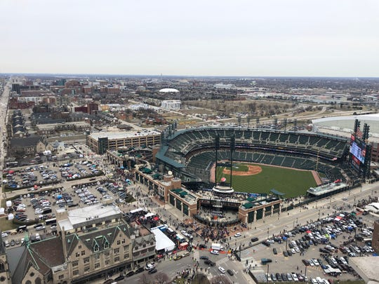 Longtime developer Mike Higgins and his assistant Karyn Brown throw an Opening Day party at the top of the Broderick Tower. Here's the view.