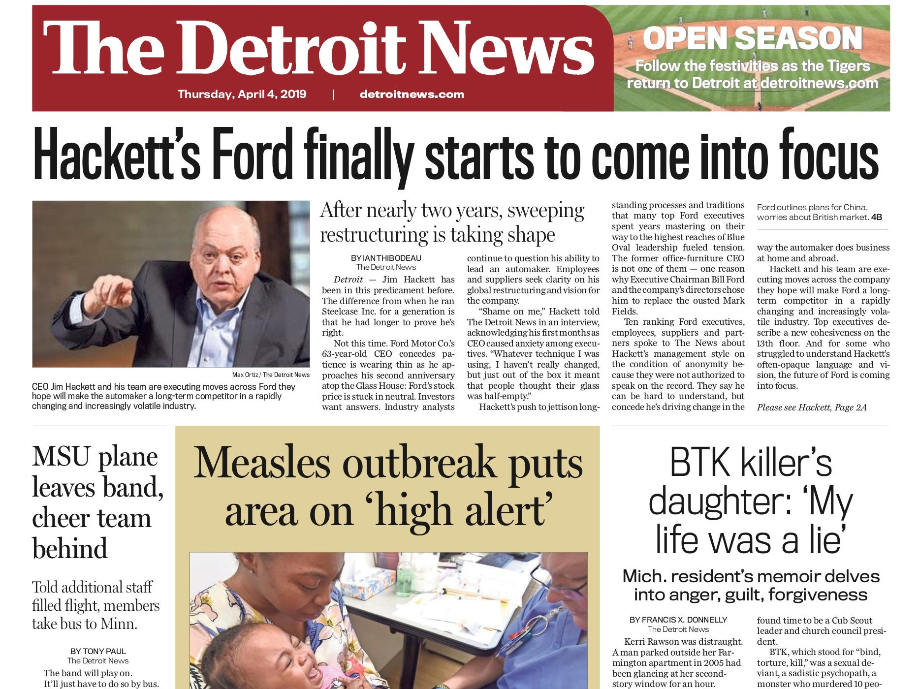 The front page of the Detroit News on April 3, 2019.