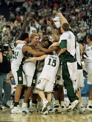 Michigan State celebrates its 2000 national championship in Indianapolis.