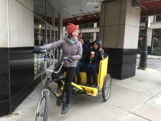 Sylvie Demers of Highland Park pedals part-time for Motor City Pedicab and took the day off Thursday because she expected better business and tips during the Tigers home opener.