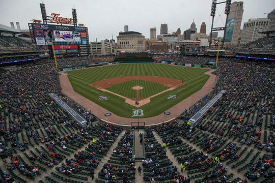 The scene at first pitch on Opening Day in Detroit.