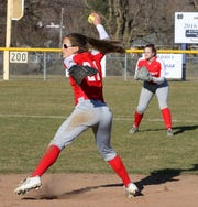 Wendi Hammond of Waverly delivers a pitch against Elmira Notre Dame on April 3, 2019 in Southport. She struck out 14 on April 17  in no-hitting the Crusaders.
