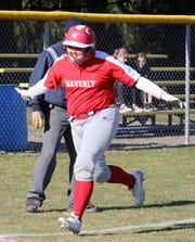 Waverly's Riley Hall approaches home plate after hitting a homer in an 8-1 win over Elmira Notre Dame on April 3, 2019.