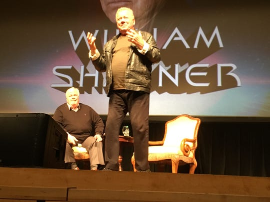 William Shatner and Jon Dennis Bailey on stage at Evansville's The Victory during Shatner's Question and Answer session Wednesday night.