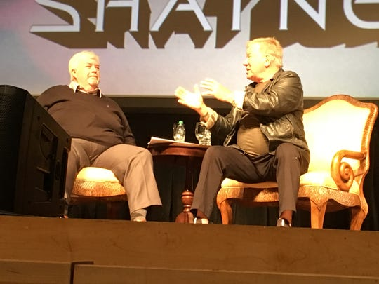 William Shatner talks with Jon Dennis Bailey on stage at Evansville's The Victory.