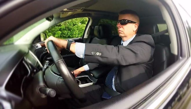 "Former Sandusky County Sheriff's Office Detective Sean O'Connell driving a vehicle during an interview for NBC's ""Dateline."""