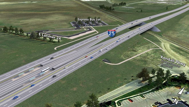 This is a rendering of what the Interstate 25 enhancements at Kendall Parkway will look like when completed.