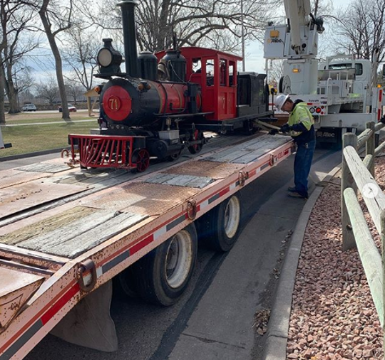 The City Park train locomotive and its little rail cars were removed from City Park on March 27. The cars will be modified and reused in a new Fort Collins park. The locomotive will be auctioned off later this year.
