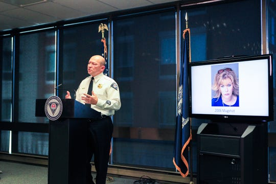 "Greenville police chief Ken Miller speaks at a press conference discussing an arrest in the ""Julie Valentine"" cold case in which a baby was found abandoned in a box on Feb. 13, 1990. Brook Graham, 53, was arrested and charged with homicide by child abuse."