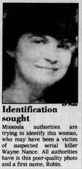 "In 1986, authorities searched for the identification of ""Robin,"" believed to be a victim of the Missoula Mauler serial killer. DNA later identified her as Marcella Cheri Bachmann, 16, a Washington runaway."