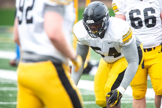 Defensive tackle Daviyon Nixon (54) will be a player for media members to watch during Iowa's final spring football practice on Friday night.