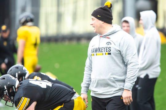 Iowa third-year offensive coordinator Brian Ferentz watches over an April 4 practice.