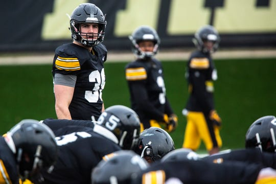 Nate Wieting (39) has been primarily used as a blocking tight end in his Hawkeye career, but is in line for a featured role as a senior.