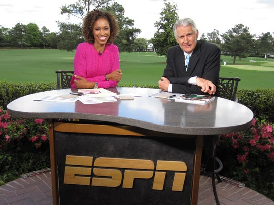 ESPN's Sage Steele (left) at the Masters with Andy North. Completing the team's coverage is Curtis Strange and Tom Rinaldi.