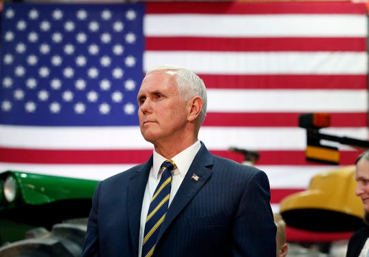 Vice President Mike Pence talks to farmers and guests at Lamb Farms in Lebanon on Thursday, April 4, 2019.