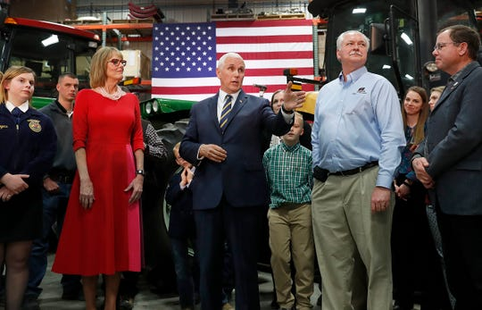 Vice President Mike Pence talks to famers and guests at Lamb Farms in Lebanon on Thursday, April 4, 2019.